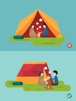 Right and wrong ways to prepare a camp,illustration, vector