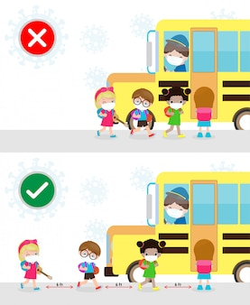 Right and wrong ways and prevention tips of coronavirus 2019 ncov. kids wearing face mask and keep social distancing while get on school bus, back to school for new normal lifestyle concept