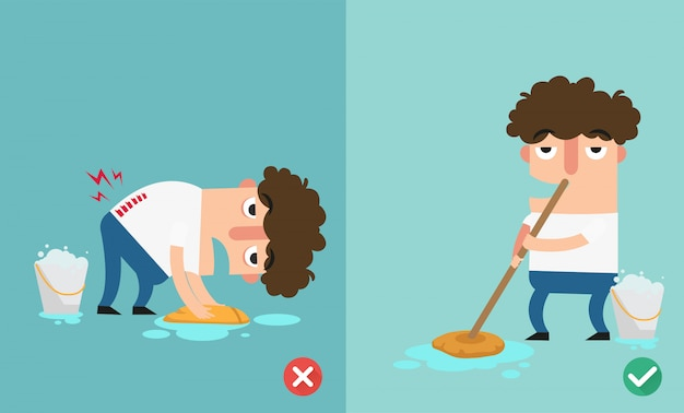 Right and wrongs way to clean the floor,illustration