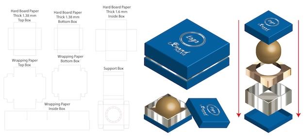 Жесткая коробка для скругленного мыльного макета с dieline