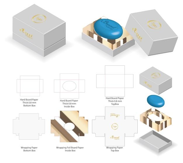 Жесткая коробка для скругленного мыльного макета с dieline Premium векторы