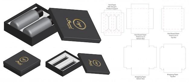 단단한 상자 포장 다이 컷 템플릿 3d 모형 프리미엄 벡터