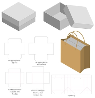 Rigid box and paper bag set mockup with dieline