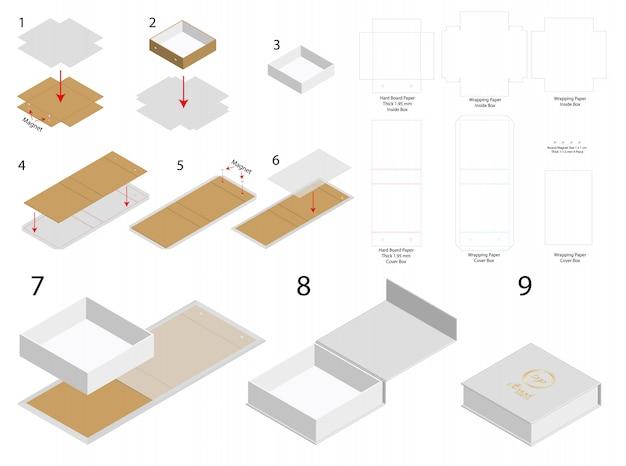 단단한 자석 상자 템플릿 3d 모형 다이 라인