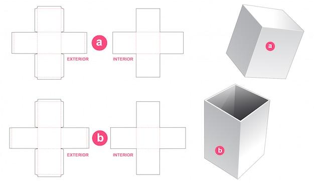 硬質包装箱と蓋ダイカットテンプレートデザイン