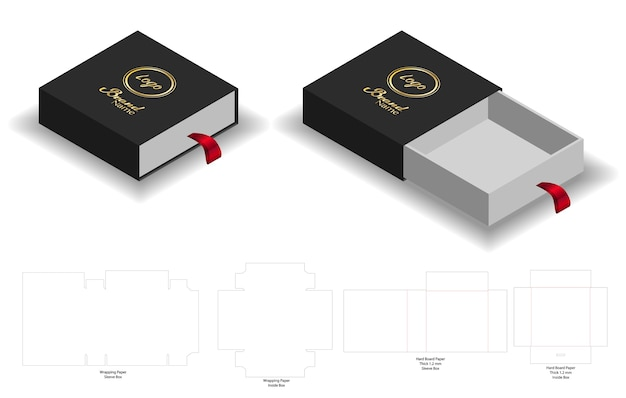 Rigid sleeve box die cut mock up template vector
