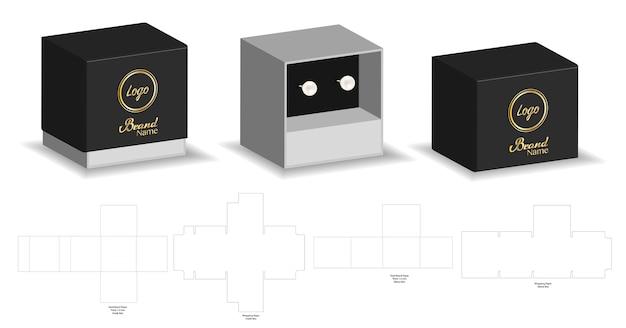 Rigid sleeve box die cut mock up template vector