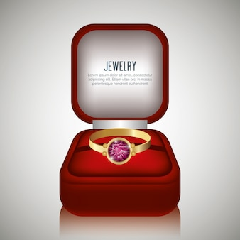 Ring in box gift isolated