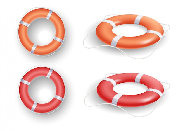 Ring buoy set with red and orange color, with different angles isolated  .   illustration