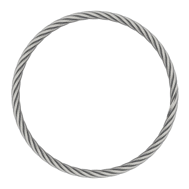 Ring endless steel rope isolated on white background