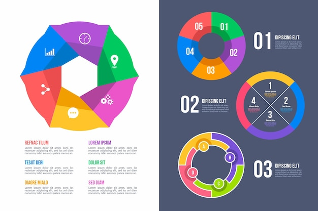 Ring infographic template set