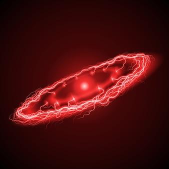 Ring lightening in red hues on dark background
