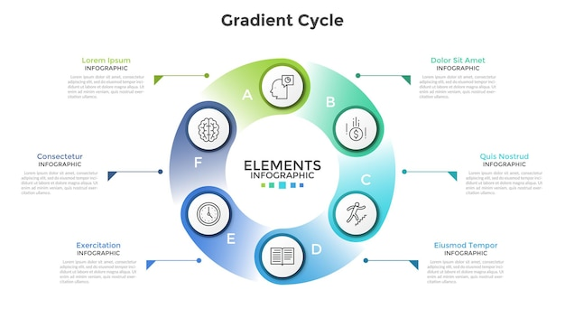 Ring-like chart with 6 circular paper white elements, linear icons, letters and place for text. concept of cyclic process with six steps. creative infographic design template. vector illustration.