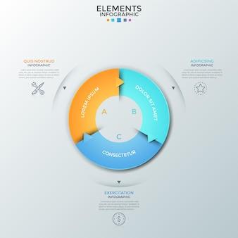 矢印、細い線の記号、テキストの場所を含む3つのカラフルな部分に分割されたリングのような図。循環的なビジネスプロセスの視覚化の概念。インフォグラフィックデザインテンプレート。ベクトルイラスト。