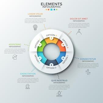 Кольцевая диаграмма разделена на 6 равных частей, тонкие пиктограммы и текстовые поля. понятие о шести этапах циклического процесса. современный инфографический дизайн-макет. для сайта, отчет.