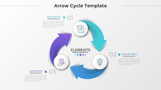 3つの紙の白い丸い要素、線形記号、数字、および矢印で接続されたテキストボックスを含むリングのような図。 3段階の循環ビジネスプロセス。インフォグラフィックデザインのレイアウト。ベクトルイラスト