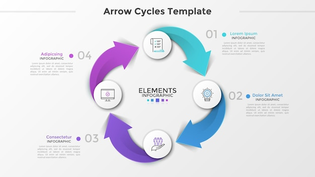 4つの紙の白い丸い要素、線形記号、数字、および矢印で接続されたテキストボックスを含むリングのような図。 4段階の循環ビジネスプロセス。インフォグラフィックデザインのレイアウト。ベクトルイラスト。