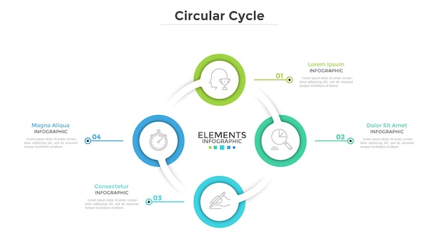 Ring-like diagram with 4 round paper white elements. concept of cyclical business process with four steps. clean infographic design template. modern vector illustration for presentation.
