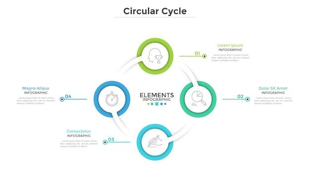 Кольцевая диаграмма с 4 круглыми бумажными белыми элементами. концепция циклического бизнес-процесса с четырьмя шагами. шаблон оформления чистой инфографики. современные векторные иллюстрации для презентации.