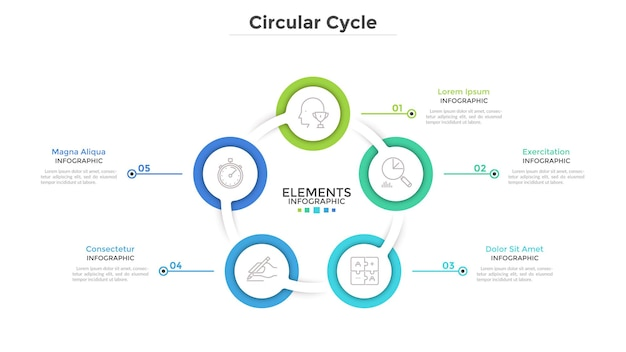Ring-like diagram with 5 round paper white elements. concept of cyclical business process with five steps. clean infographic design template. modern vector illustration for presentation.