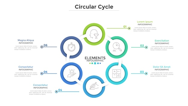 Ring-like diagram with 6 round paper white elements. concept of cyclical business process with six steps. clean infographic design template. modern vector illustration for presentation.