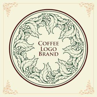 レトロなコーヒーブランドのリングロゴ