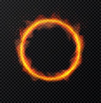 透明な背景に火の炎のリング。丸い炎のようなフレーム。図