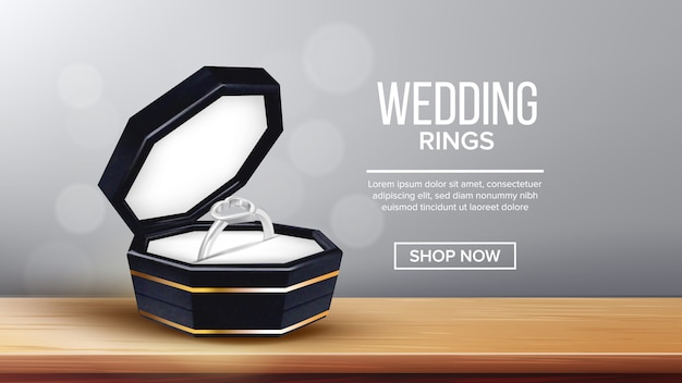 Ring with heart form in box landing page