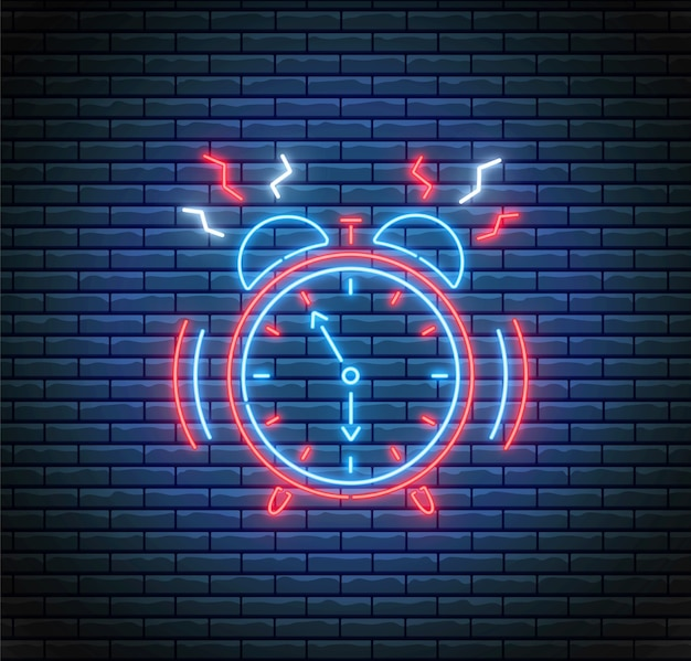 Ringing alarm clock in neon style. time concept. led light illustration. timer on brick wall.