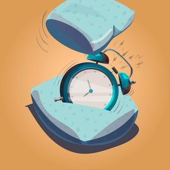 目覚まし時計が鳴っています。枕は鳴っている目覚まし時計を打ちます。ベクトルイラスト。孤立したオブジェクト