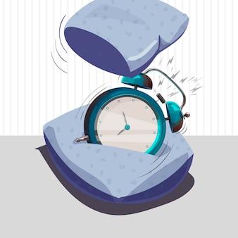 目覚まし時計が鳴っています。枕には目覚まし時計があります。ベクトルイラスト。孤立したオブジェクト