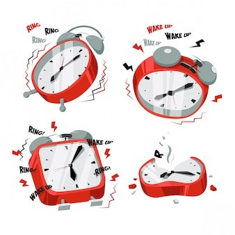 Ringing red clock illustration set