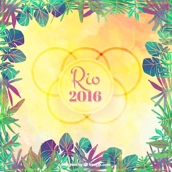 Rio 2016 background with leaves frame