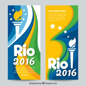 Rio 2016 banners with torch