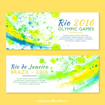 Rio 2016 olympic games banners with paint stains