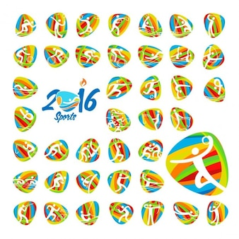 Rio 2016 olympic games summer sports icons set