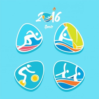 Rioオリンピックスポーツ2016陸上競技アクションのロゴセットで