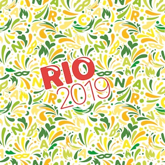 Rio 2019. colorful abstract pattern. brazilian carnaval design template