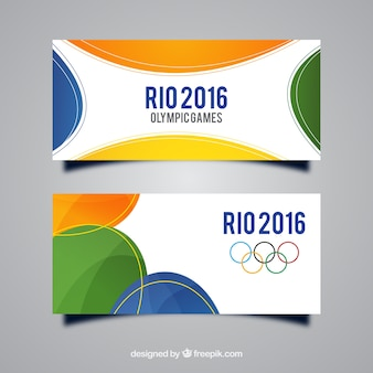 Rio banners with colored shapes