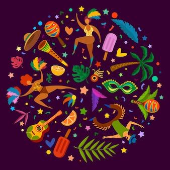 リオのカーニバル。仮面舞踏会の要素、楽器、マスクと羽、紙吹雪とブラジルのダンスフェスティバルのポスター。ベクトルチラシカーニバルパーティーバッジ、お祝いエンターテイメントイラスト