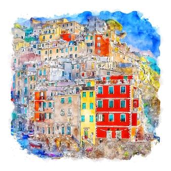 Riomaggiore 이탈리아 수채화 스케치 손으로 그린 그림