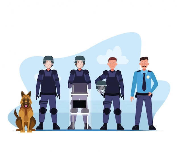 Riot police squad and dog characters