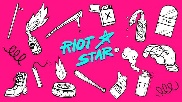 Riot stuffs icon set