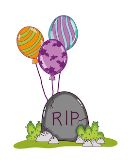 Rip stone tablet with funny balloons
