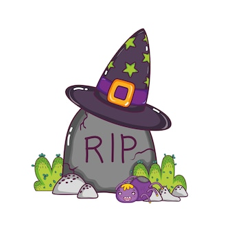 Rip stone wearing with hat and spider