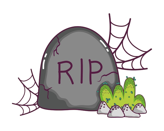 Rip stone with spiderweb and bushes with rocks