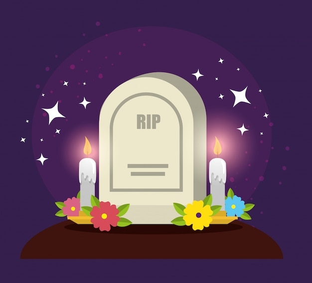 Rip with candles and flowers to day of the dead