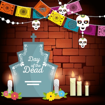 Rip with candles and party banner to day of the dead