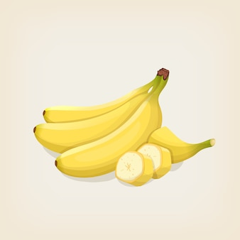 잘 익은 바나나 다발. 삽화.