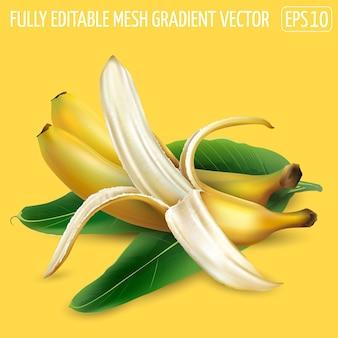 Спелые бананы с пальмовыми листьями на желтом фоне.